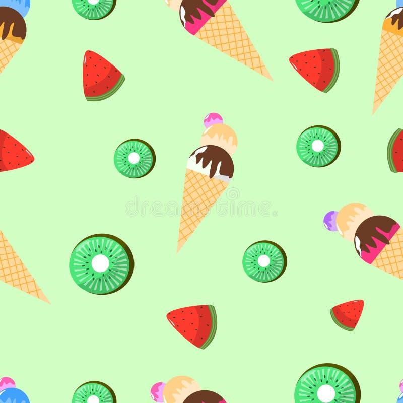 Nahtloses Muster der Eiscreme-Wassermelone und des Kiwi Vector Illustrations stock abbildung