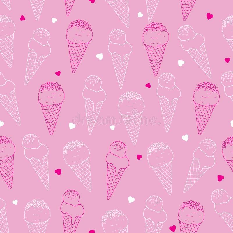 Nahtloses Muster der Eisrahmschichtkunst auf rosa Hintergrund lizenzfreie abbildung