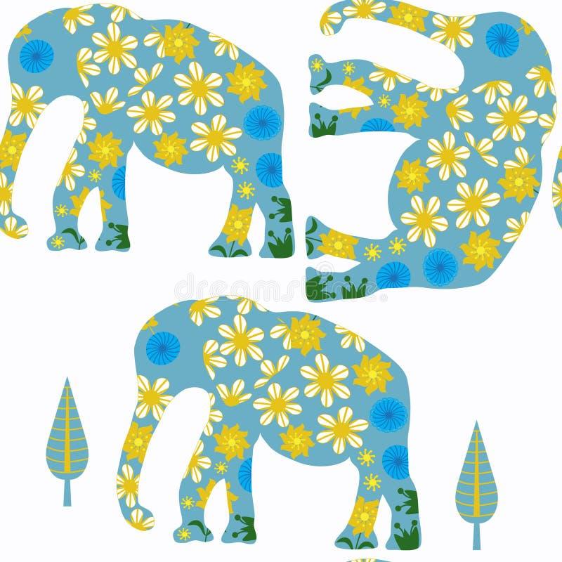 Nahtloses Muster der Elefanten Es ist im Mustermen?, Vektor vektor abbildung