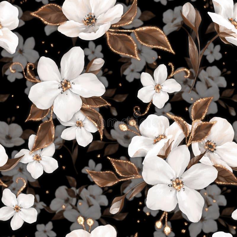 Nahtloses Muster der Eleganz mit weißen Apfelblumen und goldenen Elementen 1 stock abbildung