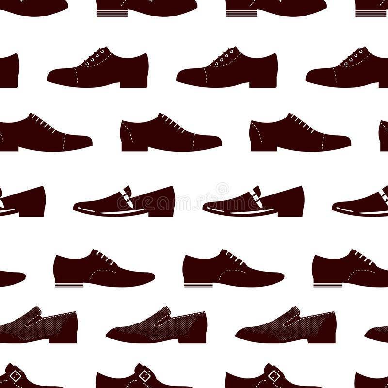 Nahtloses Muster der Eleganzfußbekleidung Nahtlose Beschaffenheit der männlichen Stiefel vektor abbildung