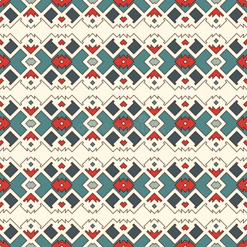 Nahtloses Muster der ethnischen Art Abstrakter Hintergrund der amerikanischen Ureinwohner Stammes- Motiv Schickes digitales Papie vektor abbildung