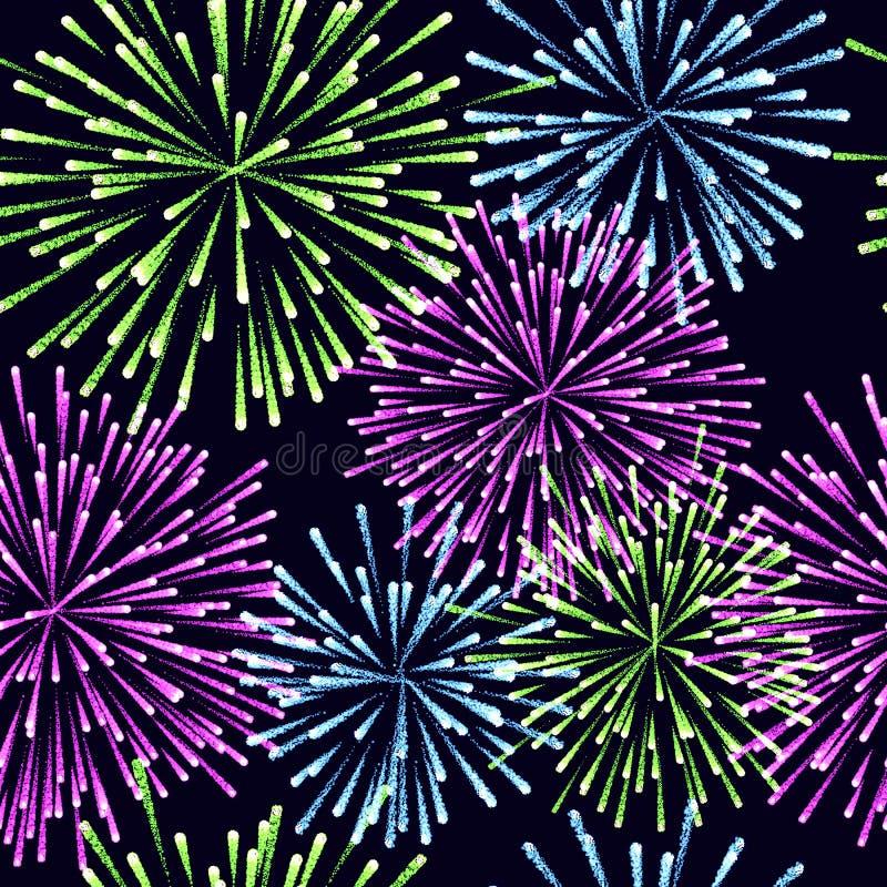 Nahtloses Muster der Feuerwerke Vektor-Farbillustration stock abbildung