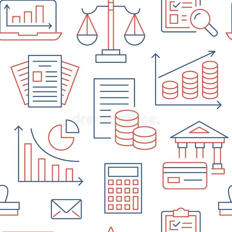 Nahtloses Muster der Finanzbuchhaltung mit flacher Linie Ikonen Buchhaltungshintergrund, Steueroptimierung, Darlehen, Rechnung lizenzfreie abbildung
