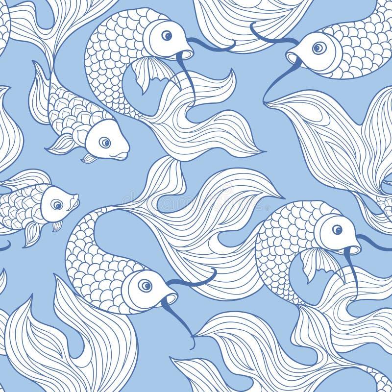 Nahtloses Muster der Fische Unterwassermeeresflora und -fauna in der Retro- chinesischen Art stock abbildung