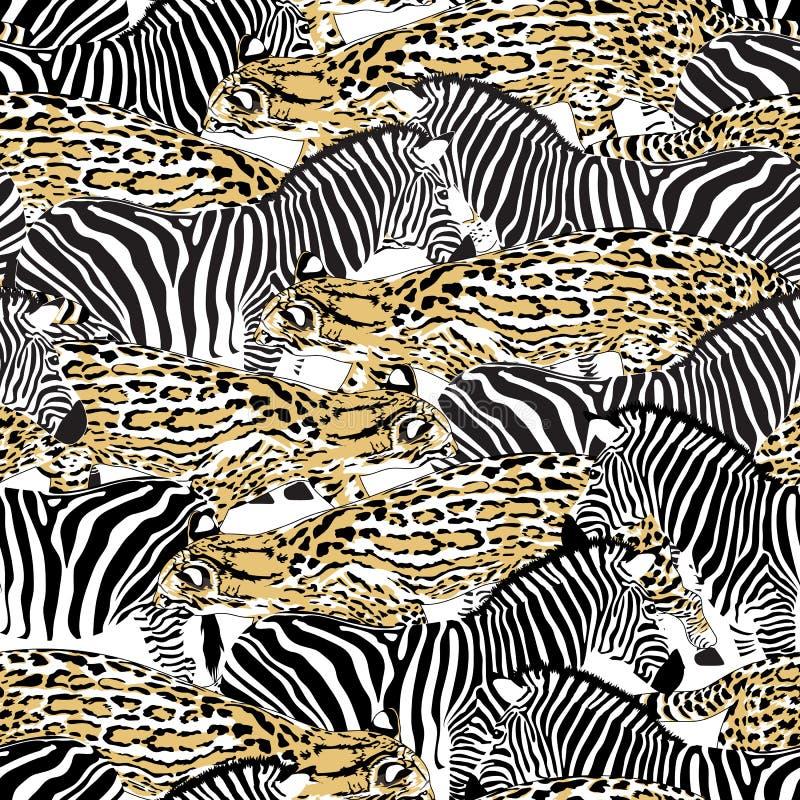 Nahtloses Muster der Fischkatze und des Zebras stock abbildung