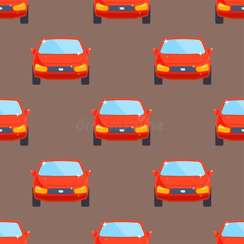 Nahtloses Muster der flachen roten Autofahrzeugtypdesign-Limousine vektor abbildung