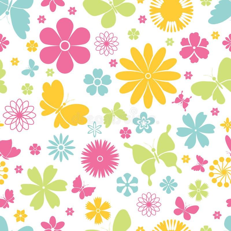 Nahtloses Muster der Frühlingsschmetterlinge und -blumen vektor abbildung