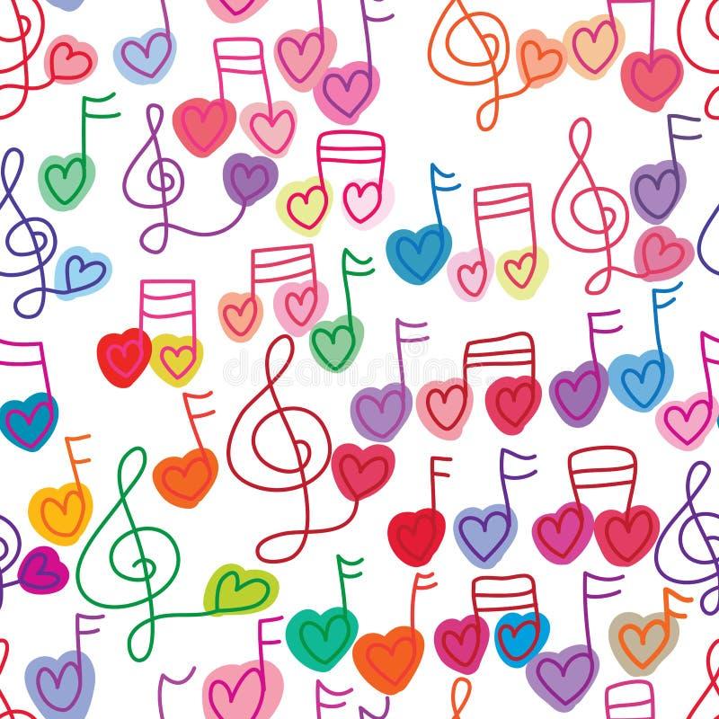 Nahtloses Muster der freien Farbe der Liebesmusikanmerkung lizenzfreie abbildung