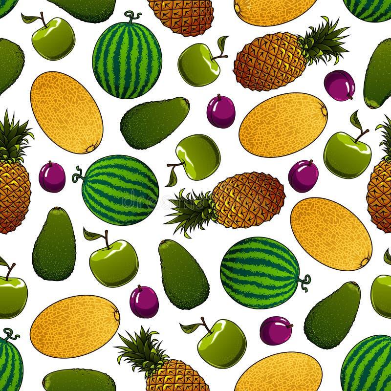 Nahtloses Muster der frischen Früchte für Lebensmitteldesign stock abbildung