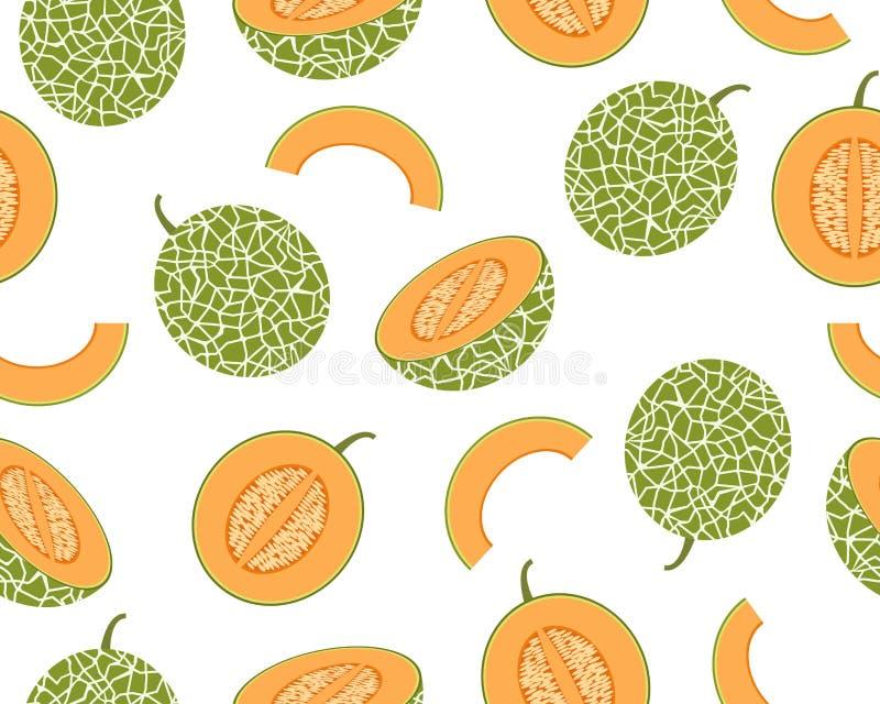 Nahtloses Muster der frischen Kantalupenmelone lokalisiert auf weißem Hintergrund stockfotografie
