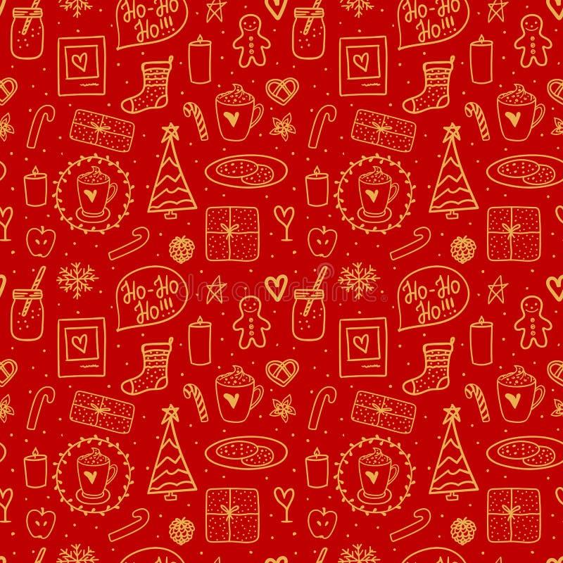 Nahtloses Muster der frohen Weihnachten Goldene Handzeichnung auf rotem Hintergrund Vektorgekritzelillustration Feiertagsstimmung stock abbildung