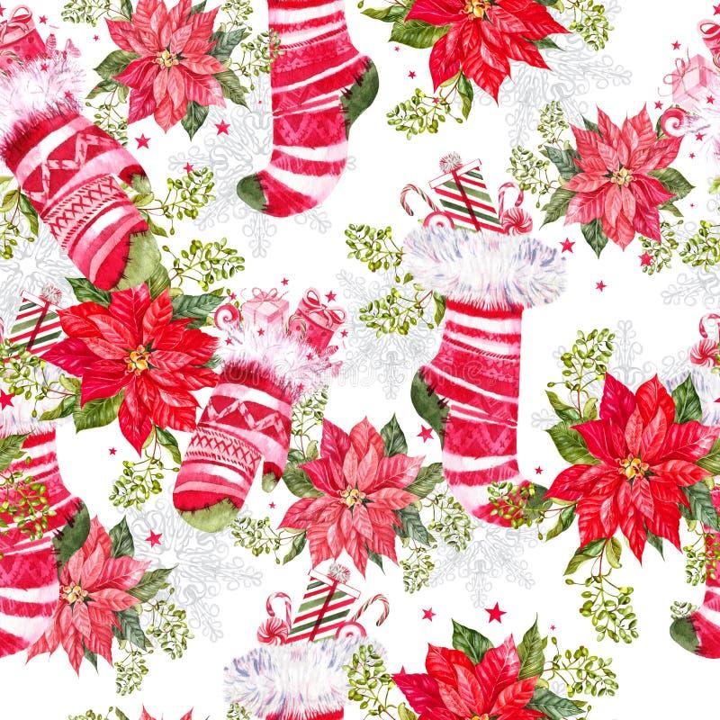 Nahtloses Muster der frohen Weihnachten mit Aquarell Weihnachtsbaum, Bälle von gelben Farben, Glocken, Bögen, Geschenkboxen, Süßi lizenzfreies stockfoto