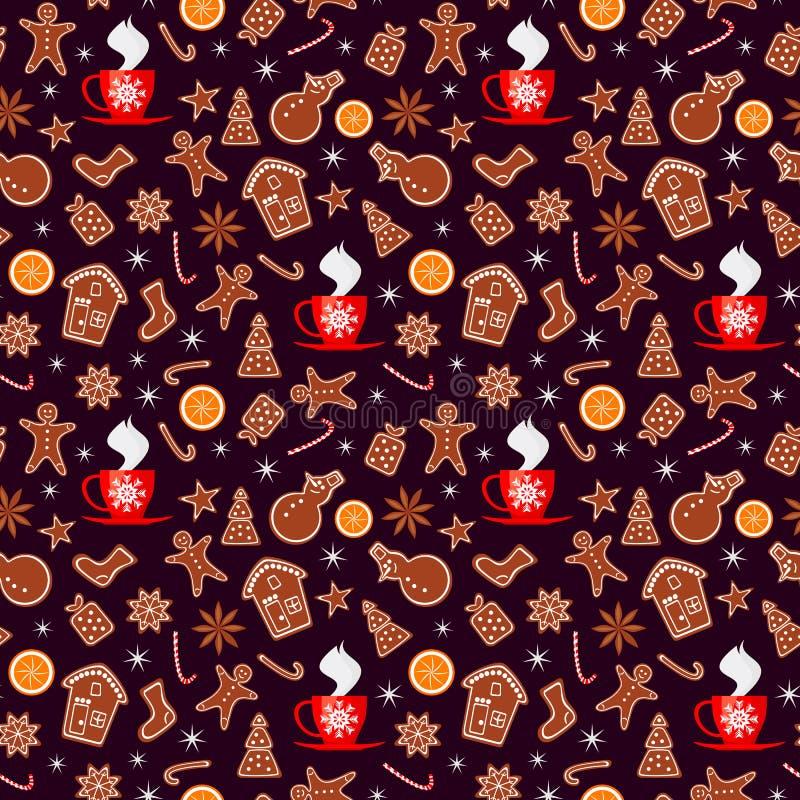 Nahtloses Muster der frohen Weihnachten und des guten Rutsch ins Neue Jahr mit den Lebkuchenplätzchen, -orange, -scheinen und -ta vektor abbildung