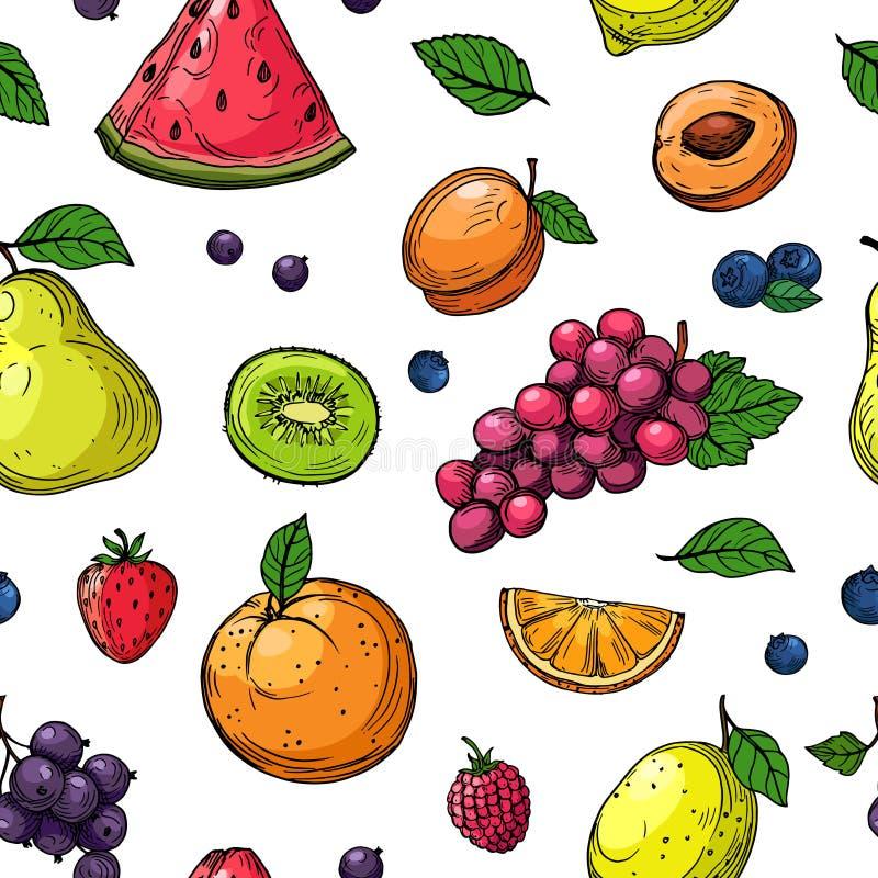 Nahtloses Muster der Frucht und der Beeren Orange und Trauben, Kiwibirne, Wassermelone und Erdbeere, Himbeerpfirsichfrucht stock abbildung