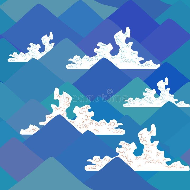 Nahtloses Muster der Fujisan, Naturhintergrund mit japanischer Landschaft  Auch im corel abgehobenen Betrag vektor abbildung