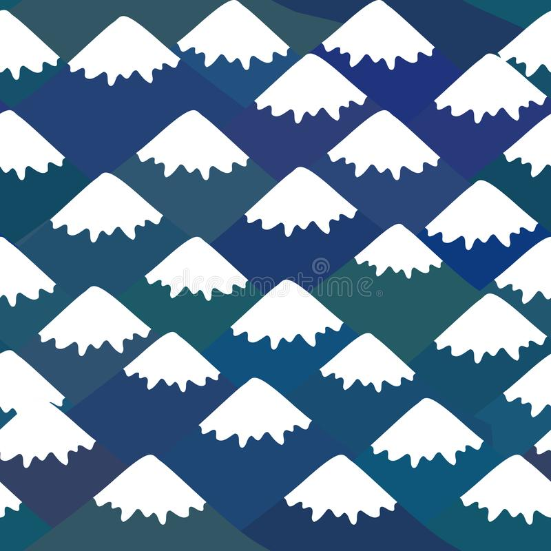 Nahtloses Muster der Fujisan, Naturhintergrund mit japanischer Landschaft Marineblauberg mit Schnee-mit einer Kappe bedeckten Spi lizenzfreie abbildung