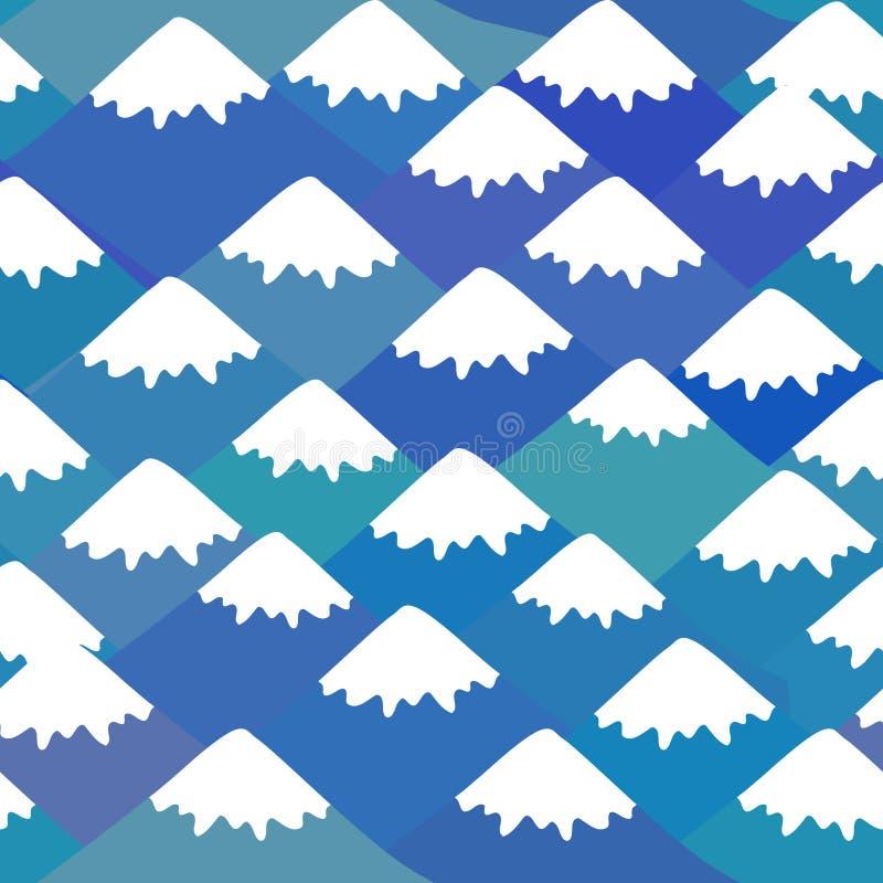Nahtloses Muster der Fujisan, Naturhintergrund mit japanischer Landschaft Marineblauberg mit Schnee-mit einer Kappe bedeckten Spi stock abbildung