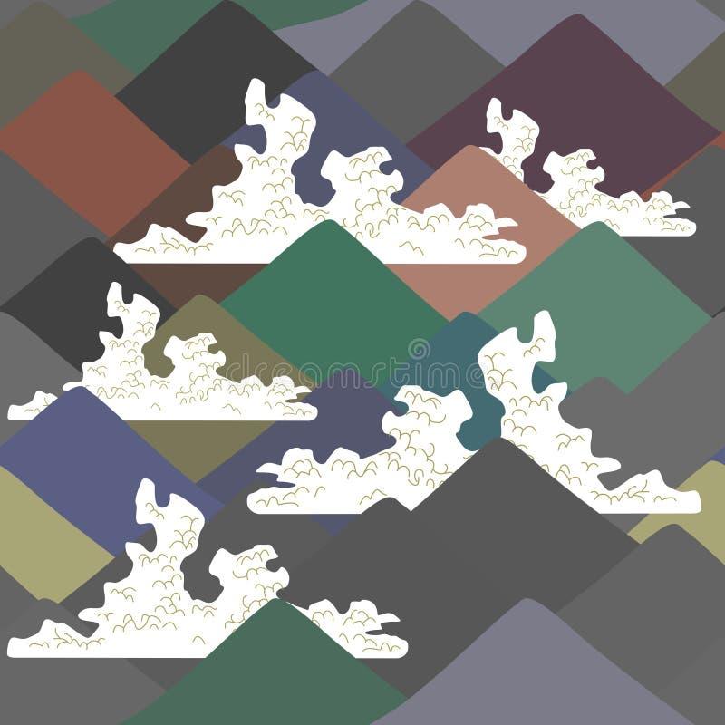 Nahtloses Muster der Fujisan, Naturhintergrund mit japanischer Landschaft weiße Wolken des Marineblaus beige grauer brauner Gebir lizenzfreie abbildung