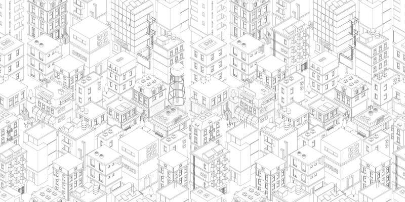 Nahtloses Muster der Geb?udestadt Isometrische Draufsicht Vektorstadtstadt-Straßenentwurf Graue Linien umreißen die rechteckige A vektor abbildung