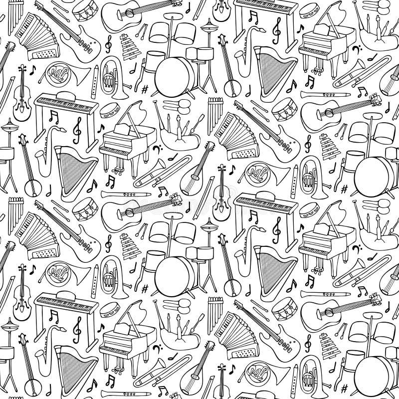 Nahtloses Muster der Gekritzel-Musik-Instrumente vektor abbildung