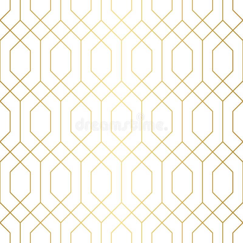 Nahtloses Muster der geometrischen Goldkette lizenzfreie abbildung