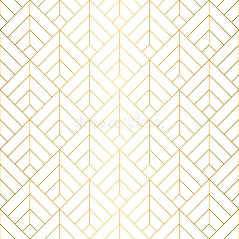 Nahtloses Muster der geometrischen Quadrate mit minimalistic Goldlinien lizenzfreies stockfoto