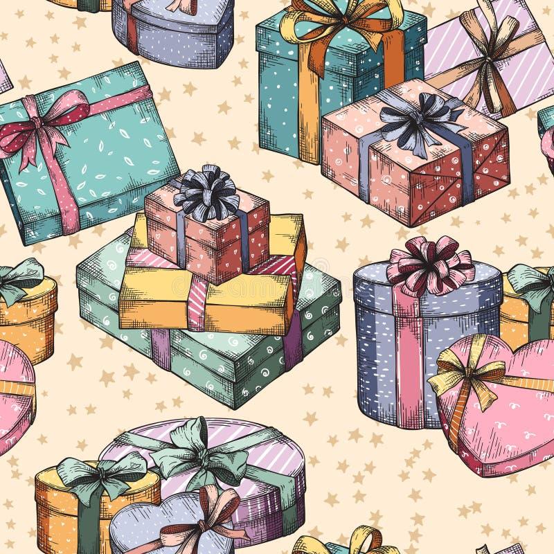 Nahtloses Muster der Geschenkkästen stock abbildung