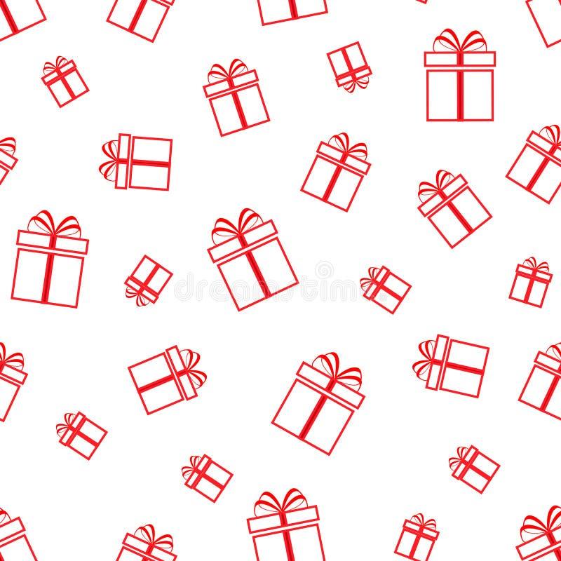 Nahtloses Muster der Geschenkkästen Rote einfache Ikone des Geschenkes auf dem weißen Hintergrund Wiederholen Sie Beschaffenheit  lizenzfreie abbildung