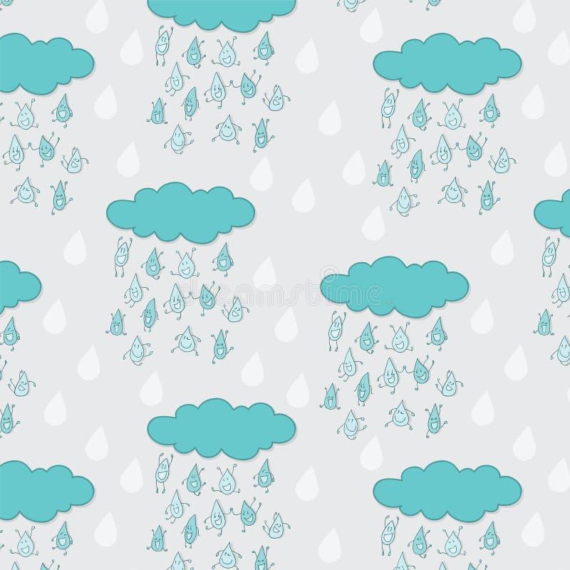 Nahtloses Muster der glücklichen lustigen Regentropfen stock abbildung