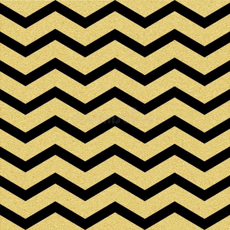Nahtloses Muster der Goldfunkelndes Sparren-Welle Klassische Zickzackschablone ENV 10 lizenzfreie abbildung