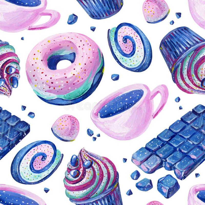 Nahtloses Muster der Gouache mit cosmo Süßigkeit 4 Von Hand gezeichnetes clipart f?r Kunstwerk und weddind Entwurf lizenzfreie abbildung