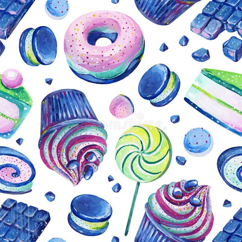 Nahtloses Muster der Gouache mit cosmo S??igkeit 2 Von Hand gezeichnetes clipart f?r Kunstwerk und weddind Entwurf stock abbildung