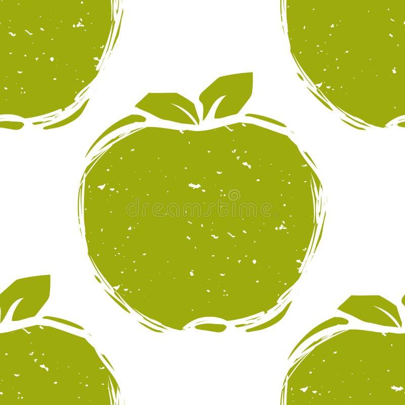 Nahtloses Muster der grünen Apfelskizze stock abbildung