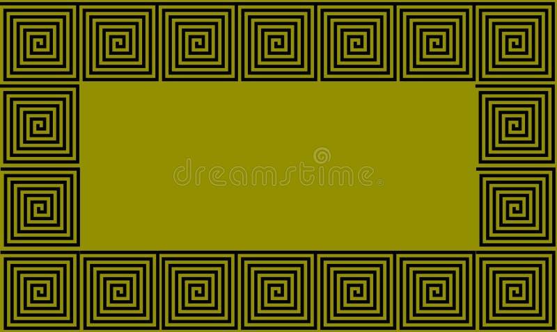 Nahtloses Muster der grünen und schwarzen Feld-Altgriechischewindung, stark vereinfachter schwarzer historischer Hintergrund Geom stock abbildung