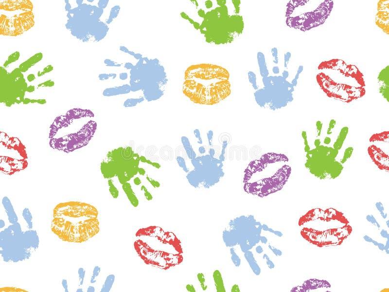 Nahtloses Muster der Hände und der Lippen der Kinder der Frau Auch im corel abgehobenen Betrag vektor abbildung