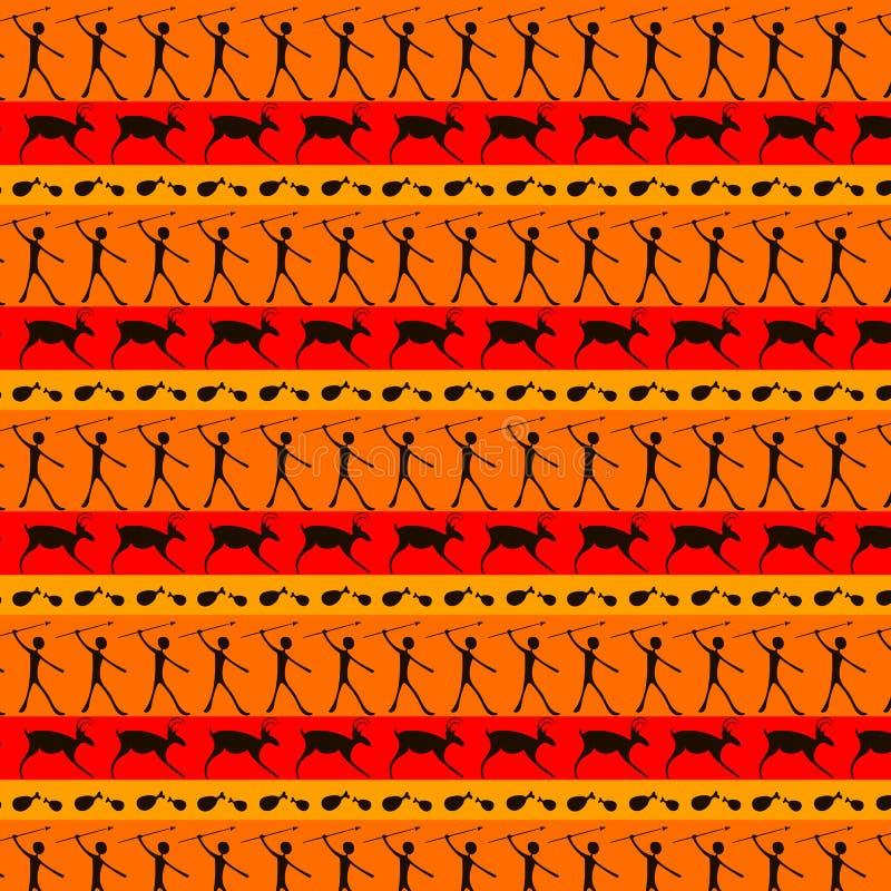 Nahtloses Muster der Höhlenbewohnerkunst vektor abbildung
