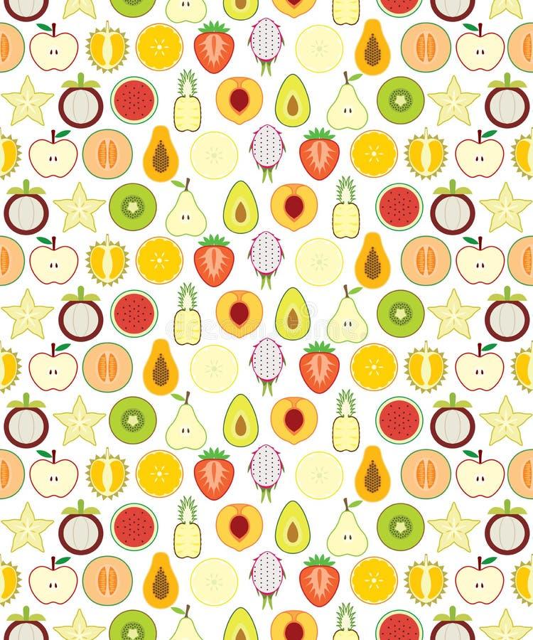 Nahtloses Muster der halben Früchte vektor abbildung