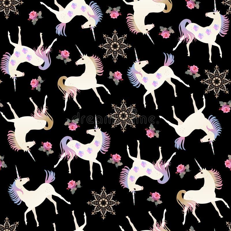 Nahtloses Muster der Handgezogenen Weinlese mit feenhaften Einhörnern, goldenen Mandalablumen und rosa Rosen auf schwarzem Hinter stock abbildung