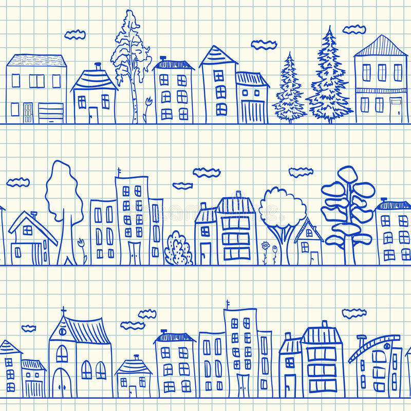 Nahtloses Muster der Hausgekritzel vektor abbildung