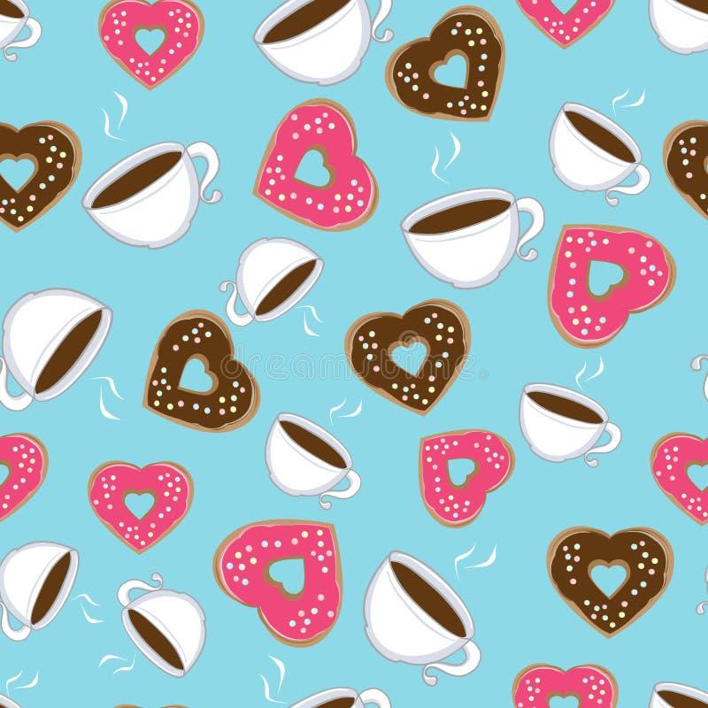 Nahtloses Muster der heißen Schokolade und der Schaumgummiringe vektor abbildung