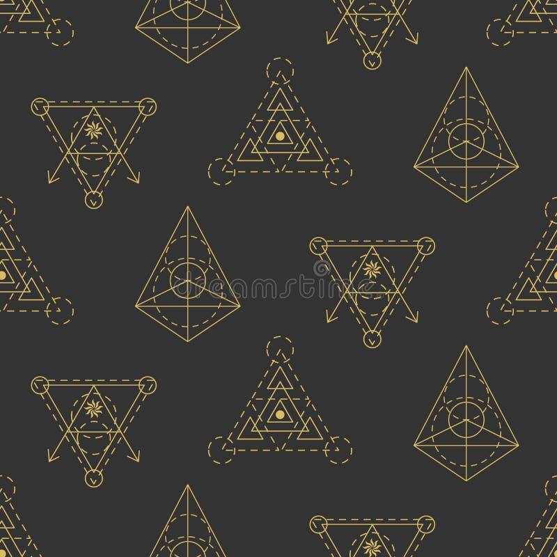 Nahtloses Muster der heiligen Geometrie des Vektors lizenzfreie abbildung