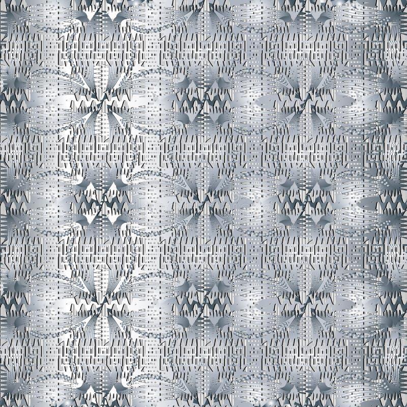 Nahtloses Muster der hellen Blumen-griechischen Schlüsselwindung 3d Vektor moder lizenzfreie abbildung