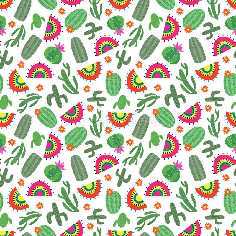 Nahtloses Muster der hellen mexikanischen Art mit Kaktus blüht vektor abbildung