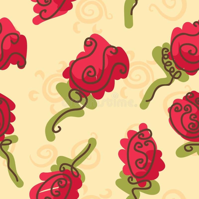 Nahtloses Muster der hellen Rosen des Gekritzels stock abbildung