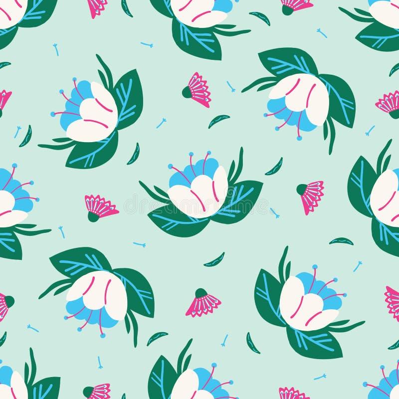 Nahtloses Muster der hellen Sommerblumen-Blüte Stilisiertes Retro- Blumen ganz ?ber Druck lizenzfreie abbildung