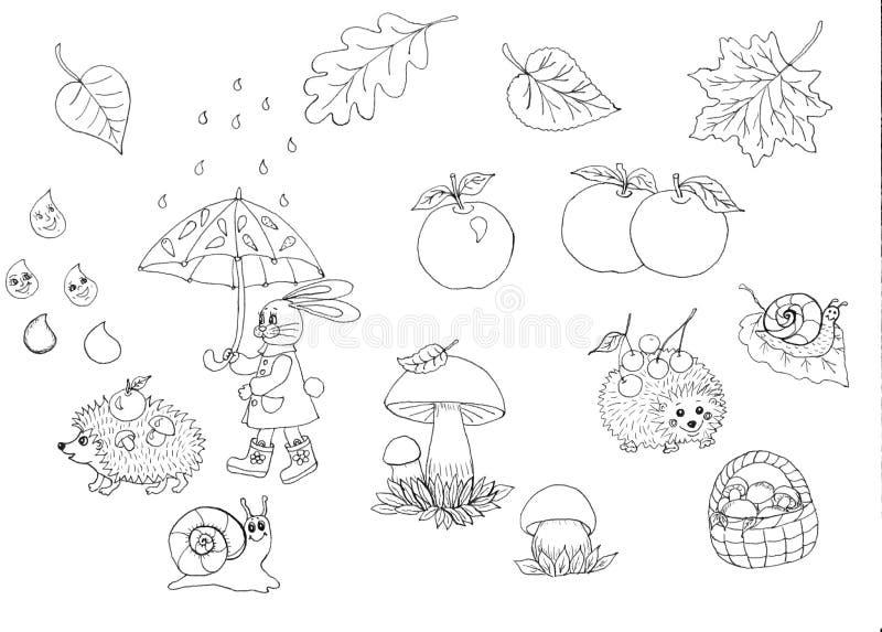 Nahtloses Muster der Herbstsaison Satz neun Vektorskizzen Herbstweg im Regen der Hase geht unter einen Regenschirm, Igele lizenzfreie abbildung