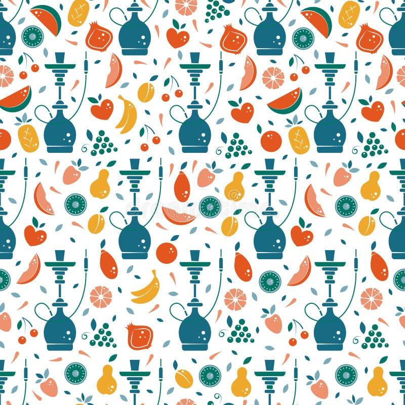 Nahtloses Muster der Huka mit Früchten lizenzfreie abbildung