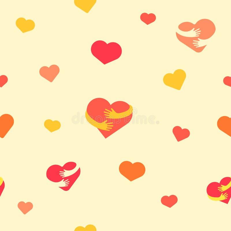 Nahtloses Muster der Inneren Babyhintergrund mit bunten Herzen und den Händen Auch im corel abgehobenen Betrag Flacher Hintergrun lizenzfreie abbildung