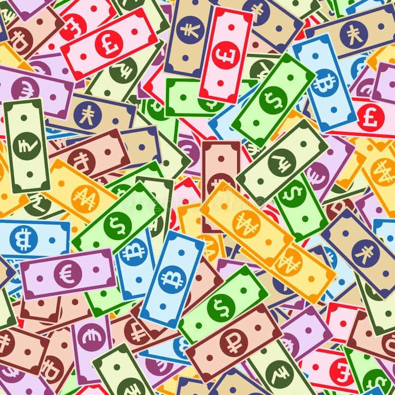 Nahtloses Muster der internationalen Währungsanmerkungen lizenzfreie abbildung